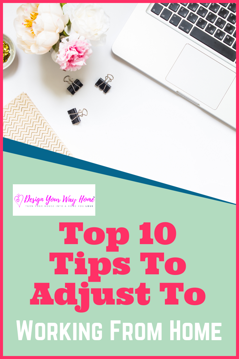 10 tips to help you adjust to working from home. Home office ideas and tips to help you decorate, design and organize your work from home space on a budget. Home office ideas for women and men to help adjust to telecommuting and increase productivity. Grab the free Perfect Home Office Checklist!